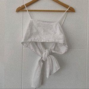 Zara Trafaluc Delicate White Toe Back Crop Top